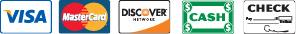 We Accept-Visa,Master Card, Discover, Cash, Check